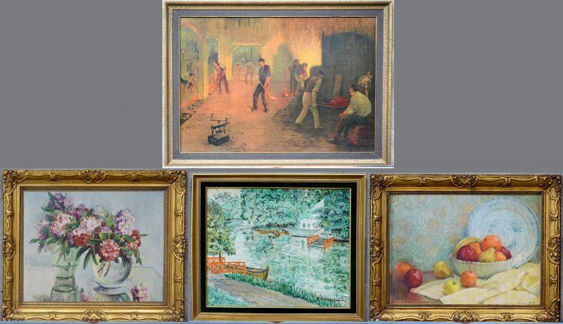 Een lot van drie reproducties en één schilderij, olieverf op doek, gesigneerd en gedateerd: ' J. Baudrenghien, 1949'