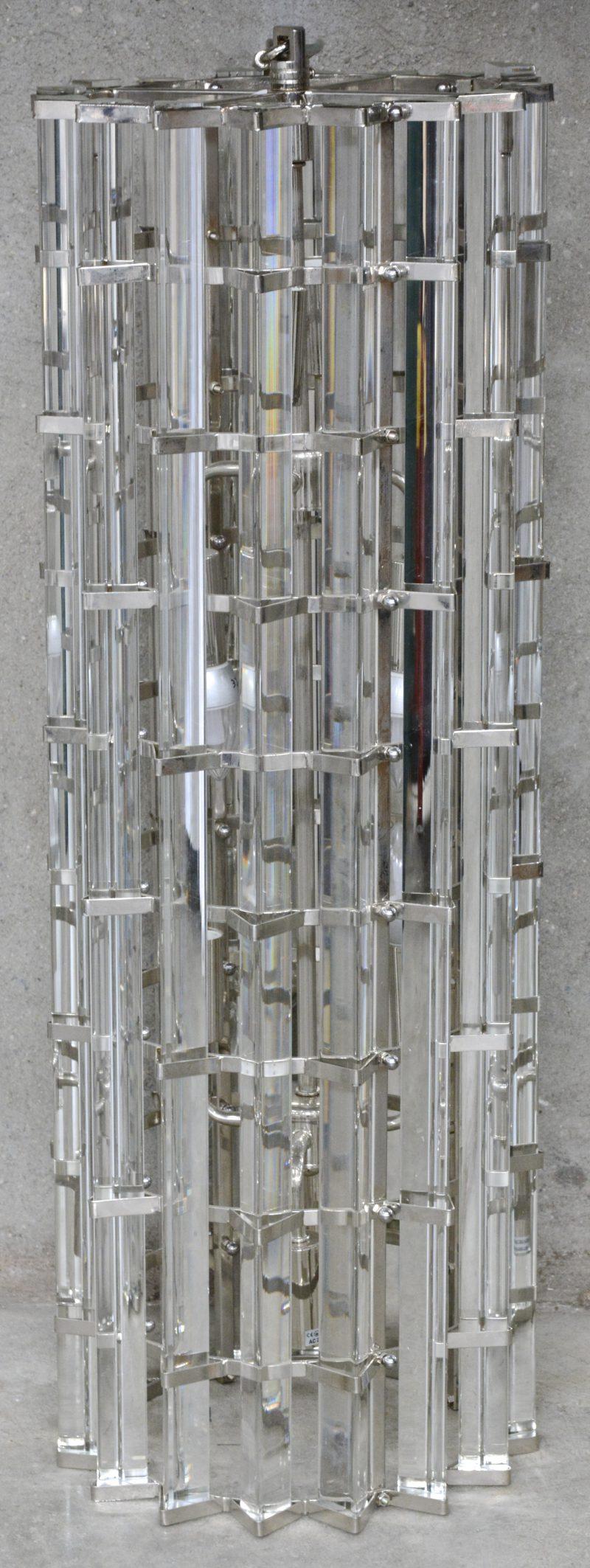 Een Hanglamp, stijl Art - Deco, in metaal en glasstaven.