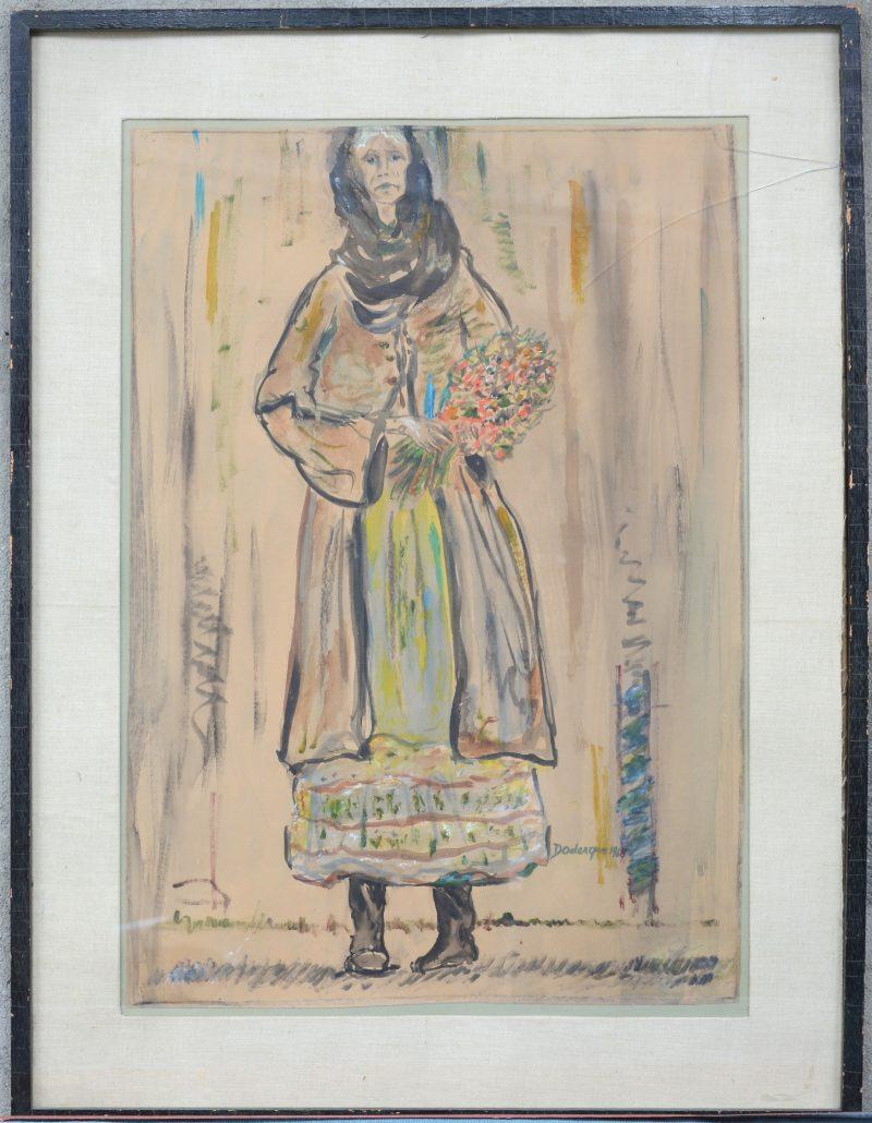 """""""Oude vrouw met bloemen"""". Gemengde techniek op papier. Gesigneerd en gedateerd 1965."""