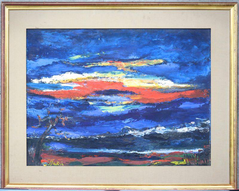 """""""Wolken en bergen"""". Olieverf op doek. Gesigneerd."""