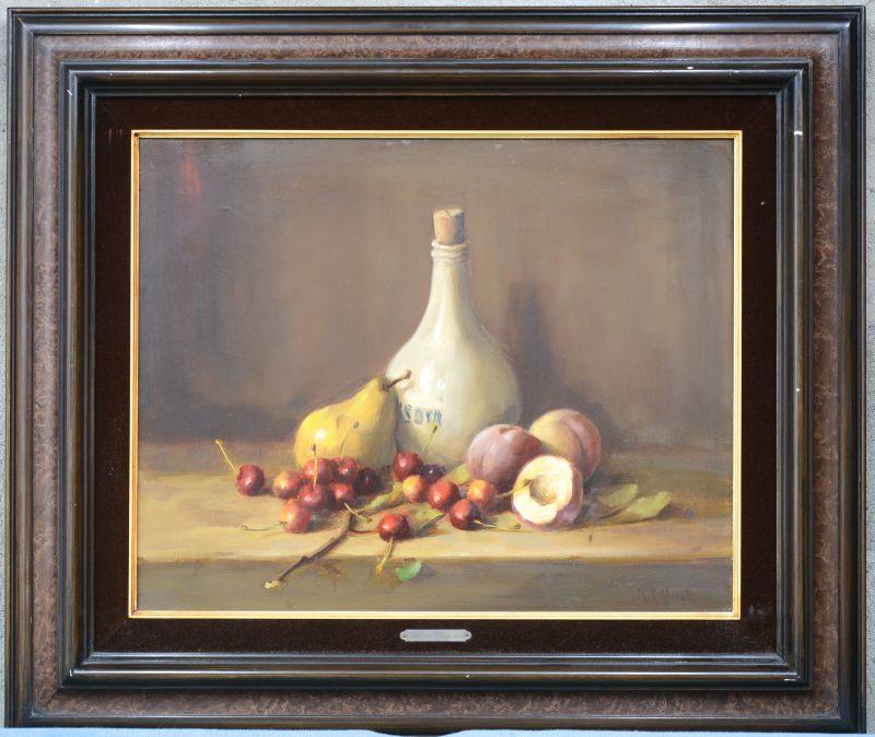 """""""Stilleven met fruit en kruik"""". Olieverf op doek. Gesigneerd."""