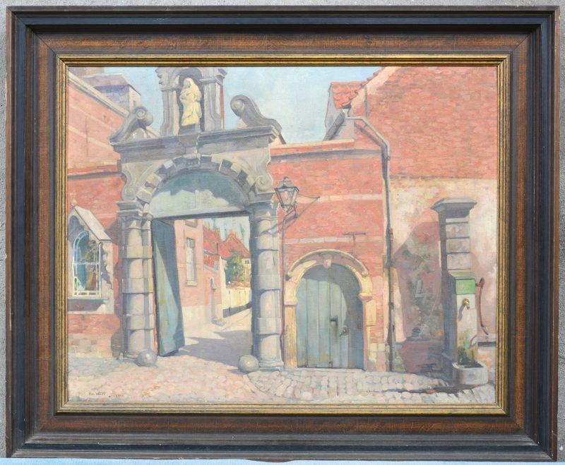 """Begijnhof te Lier"". Olieverf op doek. Gesigneerd en gedateerd 1933."