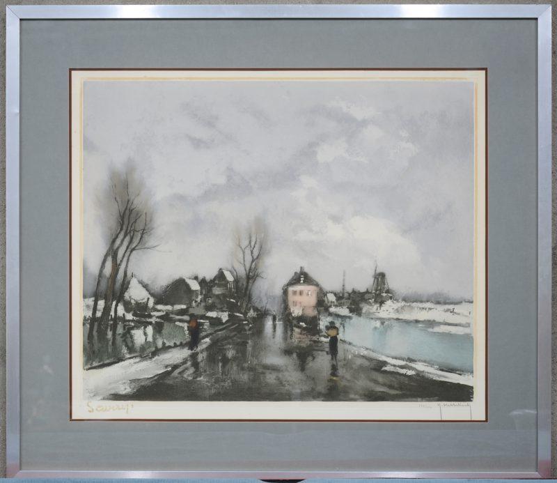 """""""Winters dorpszicht aan de Leie"""". Een lithografie naar een werk van Saverys. Gesigneerd en genummerd 255/350 buiten de plaat."""