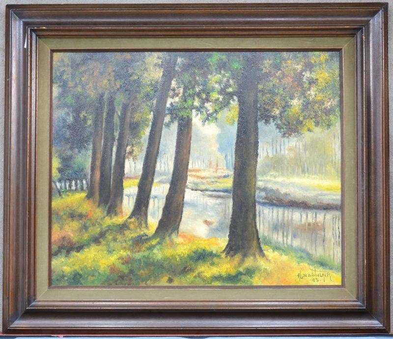 """""""Bomen langs het kanaal"""". Olieverf op doek. Gesigneerd en gedateerd '83."""