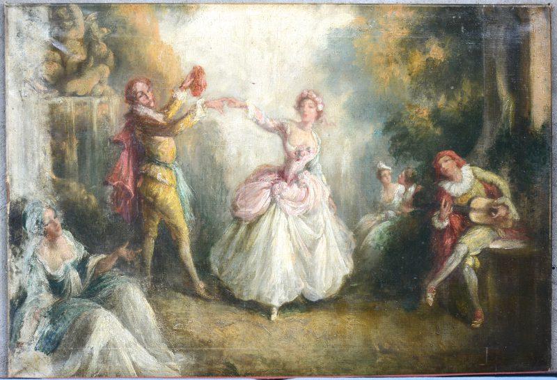 """""""Dansend koppel"""". Olieverf op doek. Zonder signatuur. XIXe eeuw."""