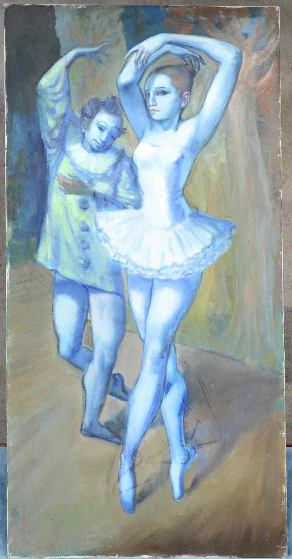 """""""Pierrot en ballerina"""". Olieverf op doek. Zonder signatuur."""