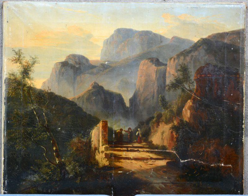 """""""Wandelaars in een romantisch landschap. Franse school, XIXe eeuw. Gesigneerd. Te restaureren."""