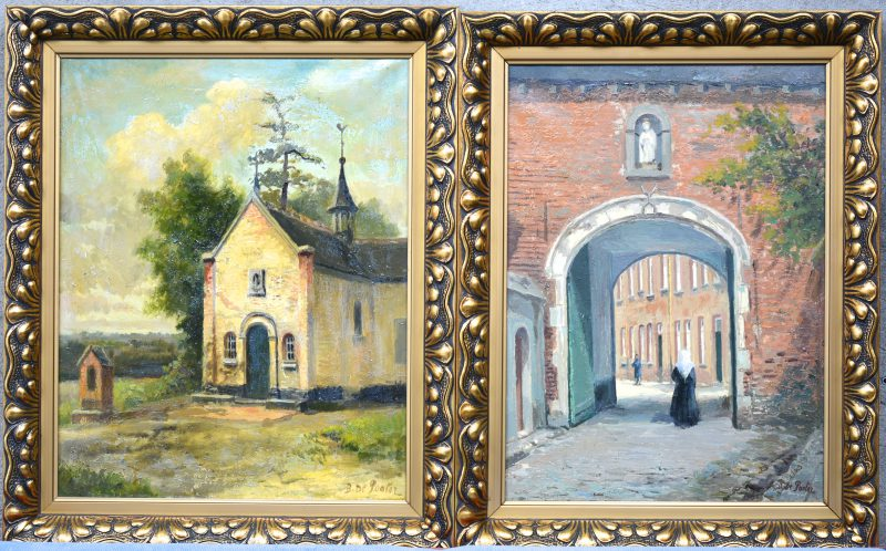 """""""Kruisberg & Begijnhof te Herentals."""" Een paar schilderijen, olieverf op doek. Gesigneerd."""
