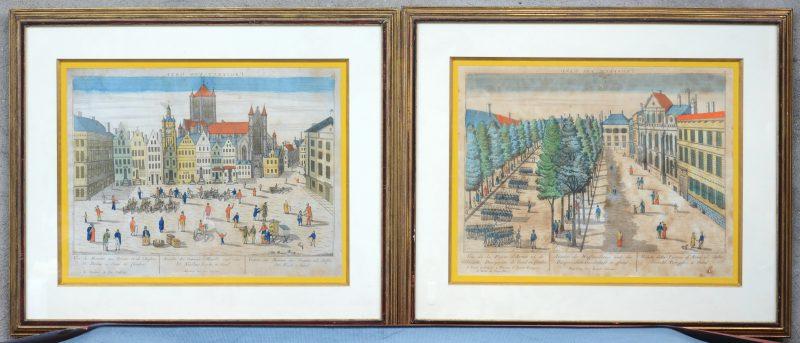 """""""Prospect von Gand"""". Twee zichten op Gent. Ingekleurde XVIIIe eeuwse gravures."""