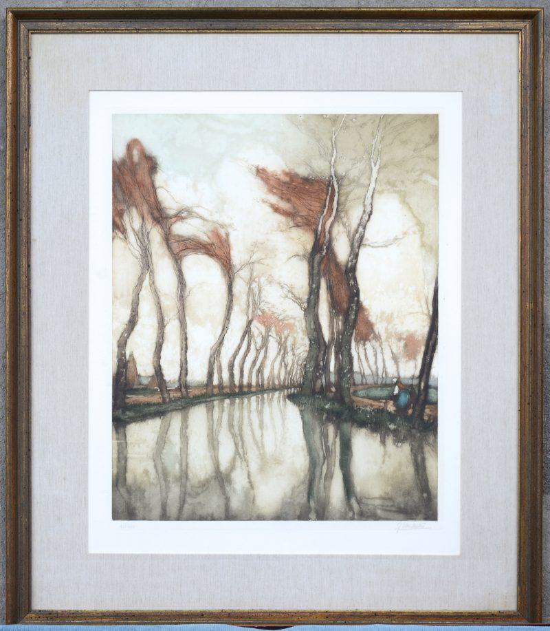 """""""Vrouw en kind langs de rivier"""". Een kleurenets. Gesigneerd en genummerd 158/350 buiten de plaat."""