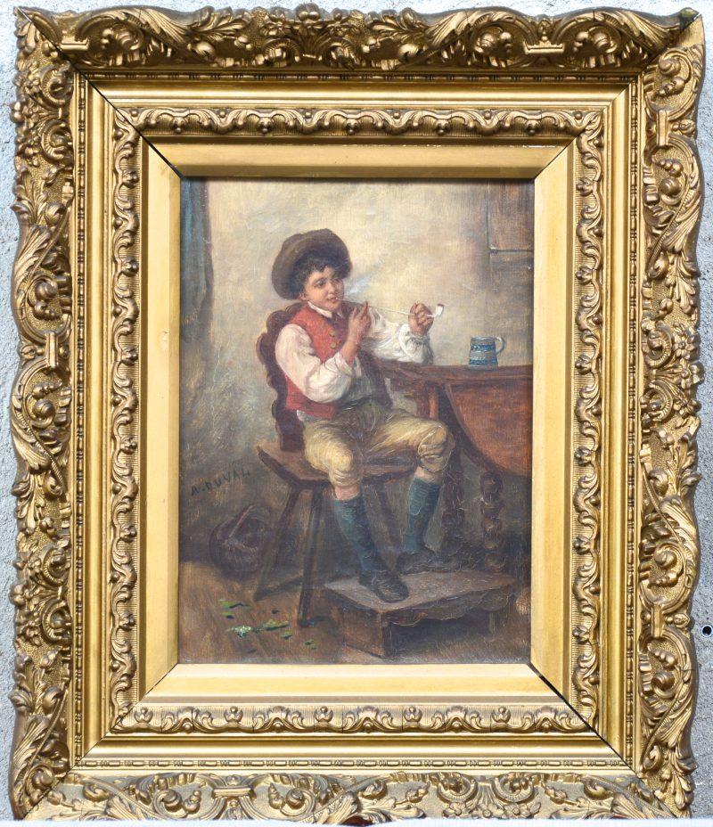 """""""pijprokende jongen"""". Een XIXde eeuws schilderij.Olieverf op doek. Gesigneerd ' A. Duval'."""