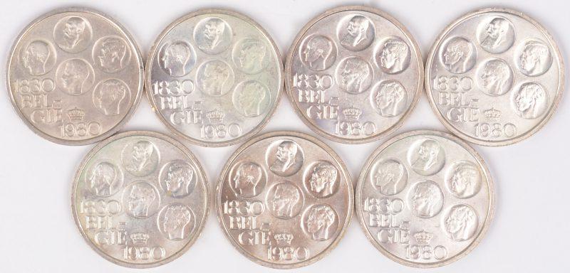 Zeven verzilverde munten van 150 jaar onafhankelijkheid Belgie. 1830-1980.