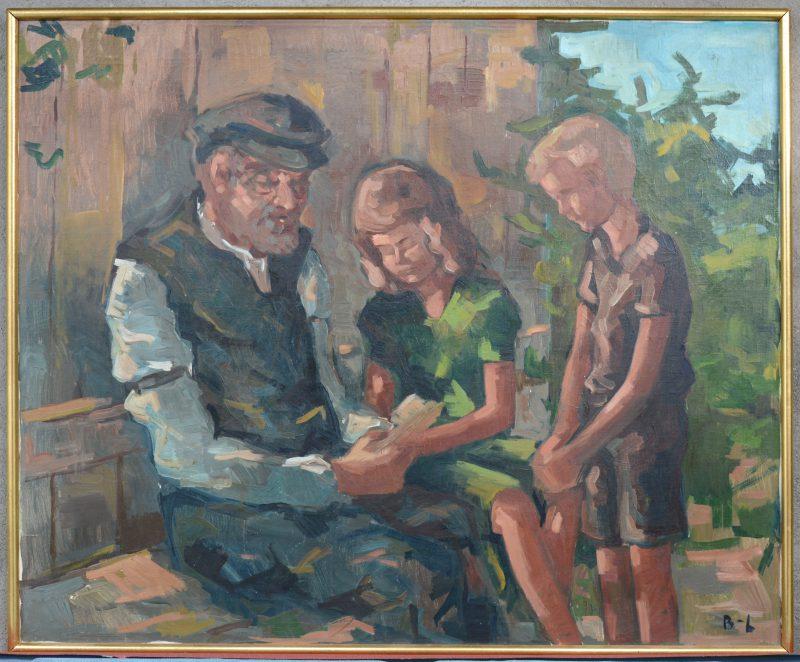 """""""Voorlezende grootvader met kleinkinderen"""". Olieverf op doek, gemonogrameerd : B.L."""