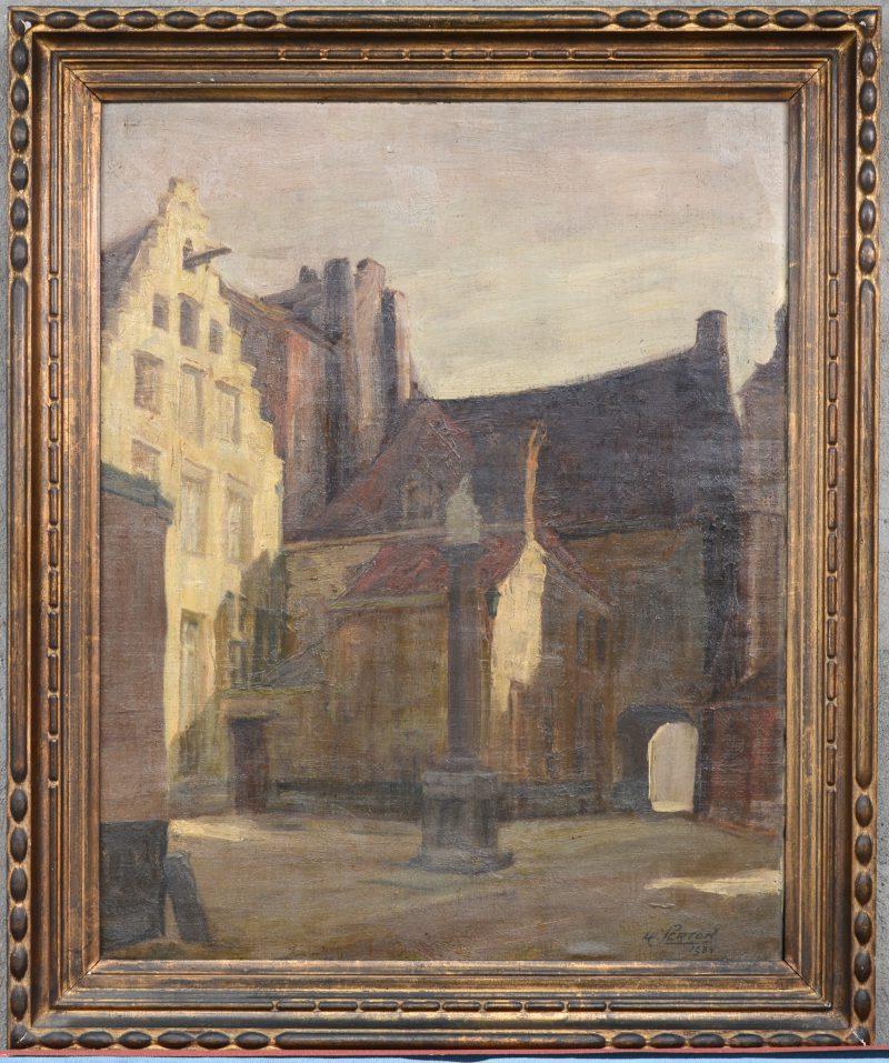"""""""Sint-Niklaasplaats te Antwerpen"""". Olieverf op doek. Gesigneerd en gedateerd '34."""
