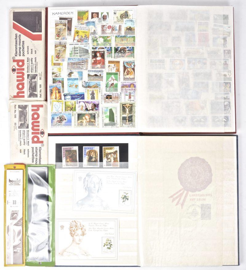 Een paar postzegelalbums met overwegend Belgische zegels in de éne en diverse buitenlandse zegels in de andere.