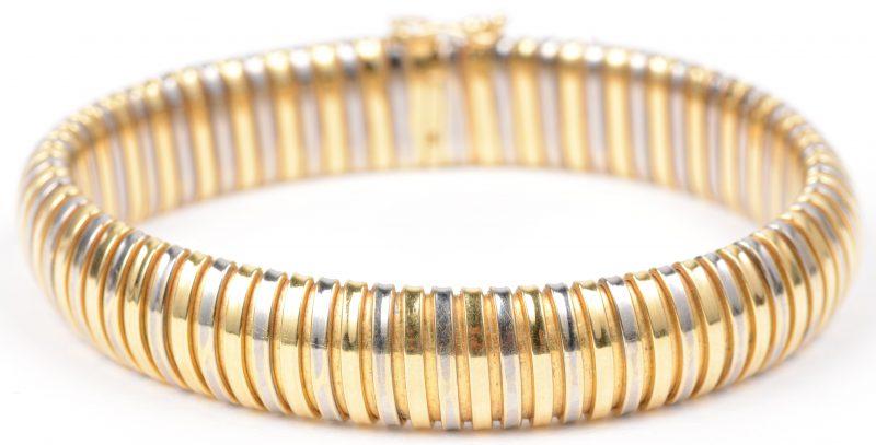 Een 18 karaats wit en geel gouden schakelarmband.