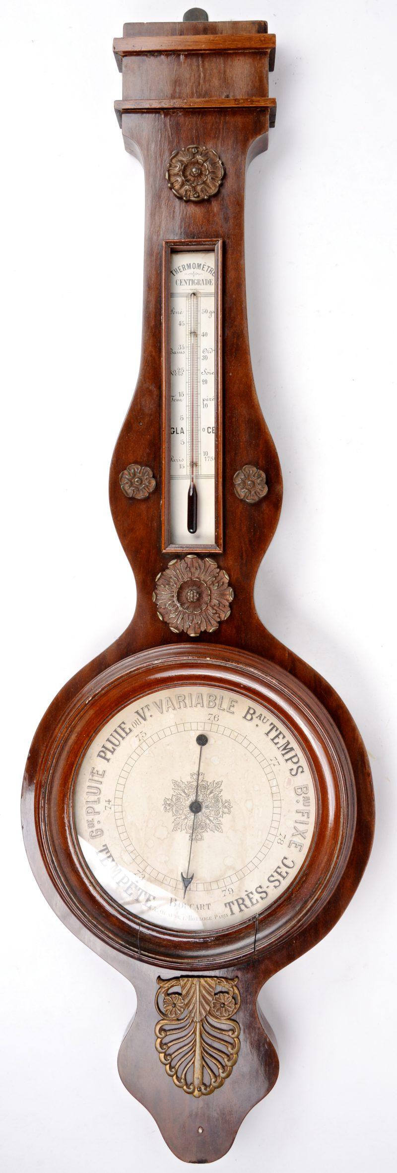 Een banjobarometer in mahoniehouten kast. XIXe eeuw.