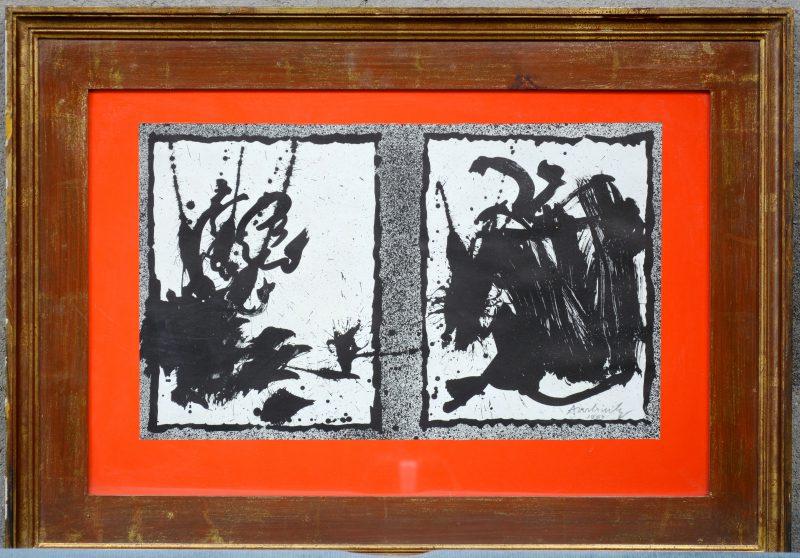 Een lithografie. Gesigneerd en gedateerd 1969 buiten de plaat.