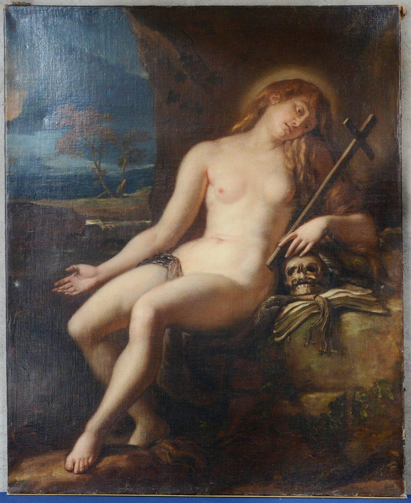 """""""De Heilige Lucretia met Vanitas"""". Olieverf op doek. Omstreeks 1700."""