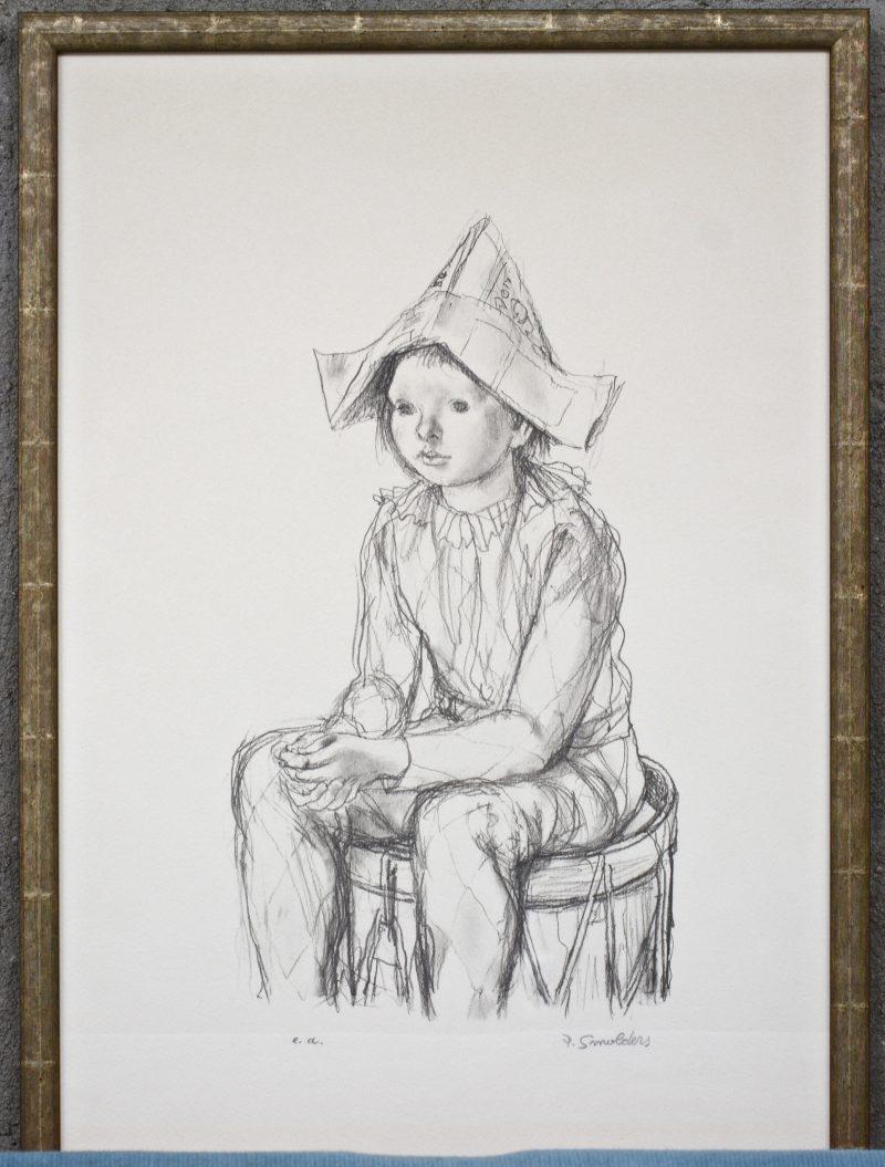 """""""Tamboer met papieren hoedje"""". Een lithografie. Gesigneerd buiten de plaat? Artiestenproef."""