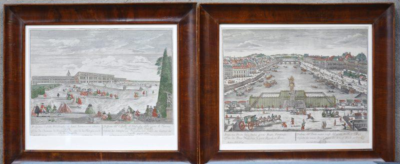 Twee ingekleurde XVIIIe eeuwse gravures met Parijse zichten.