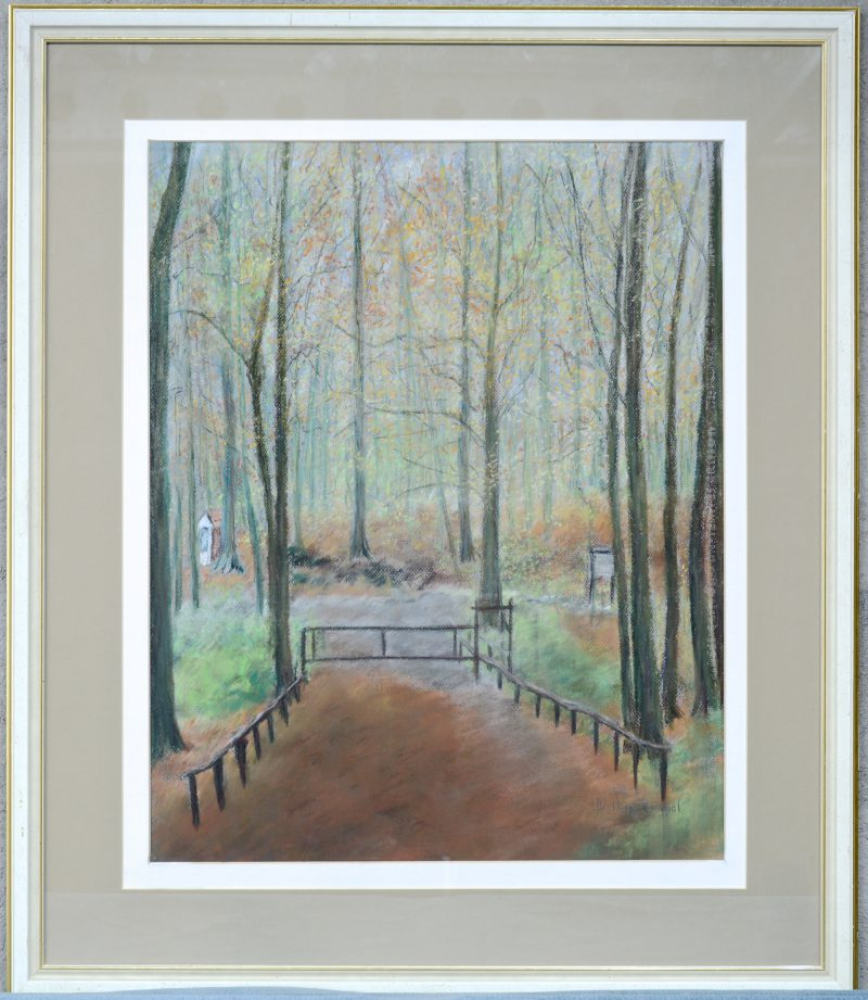 """Poort in het bos"". Pastel op papier. Gesigneerd."