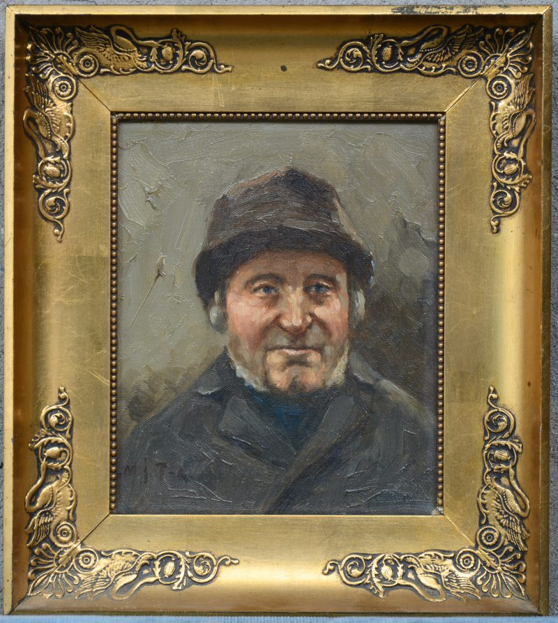 """""""Mannenportret"""". Olieverf op doek. Gemonogrameerd."""