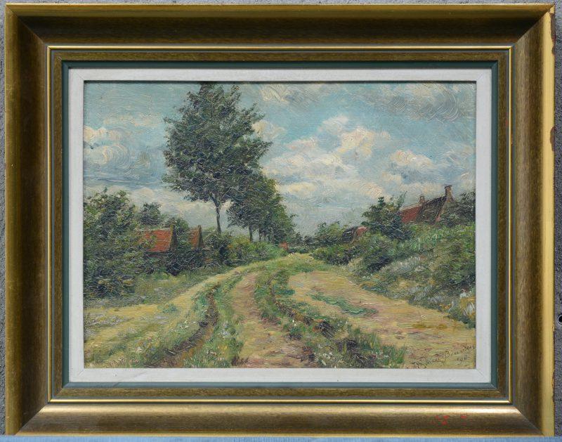 """""""Landweg aan de dorpsrand"""". Olieverf op paneel. Gesigneerd en gedateerd '96."""