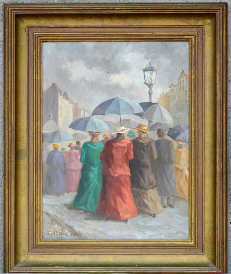 """""""Dames met paraplu op de boulevard te Parijs"""". Olieverf op paneel. Gesigneerd."""