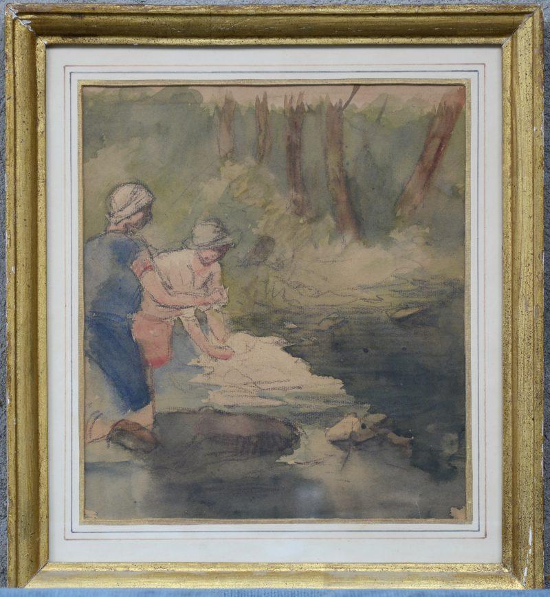 """""""Les Lavandière."""" Krijt en aquarel op papier. Franse School XIXde eeuw."""