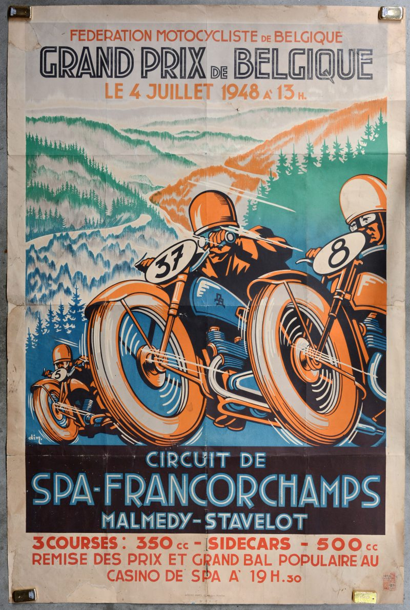"""""""Grand Prix de Belgique - Circuit de Spa-Francorchamps"""". Een originele affiche uit 1948. Met zegels."""