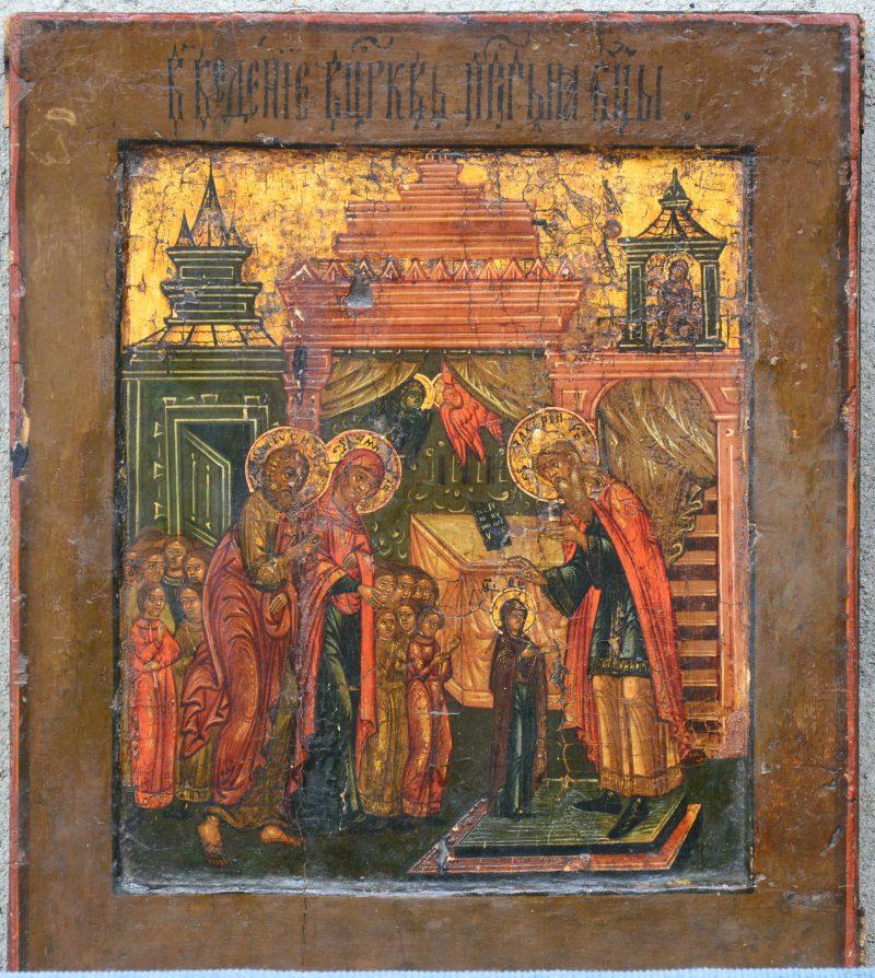 Een 19 de eeuws icoon met religieuze afbeelding.