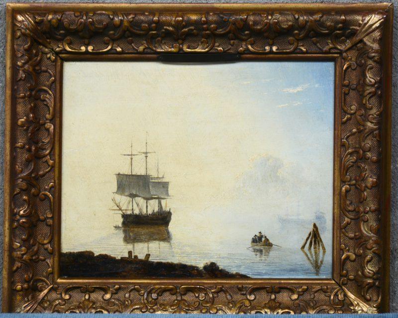 """""""Marine"""". Olieverf op paneel. Gesigneerd en gedateerd 1854."""