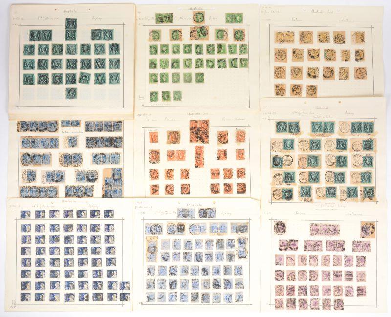Postzegels. New Zealand. 47 x fiscaal e.a. Australië (Western Australia, Tasmania, Victoria, New South Wales, Queensland, tijdperk Queen Victoria x 977 st.). Afgestempeld, diverse letsels.