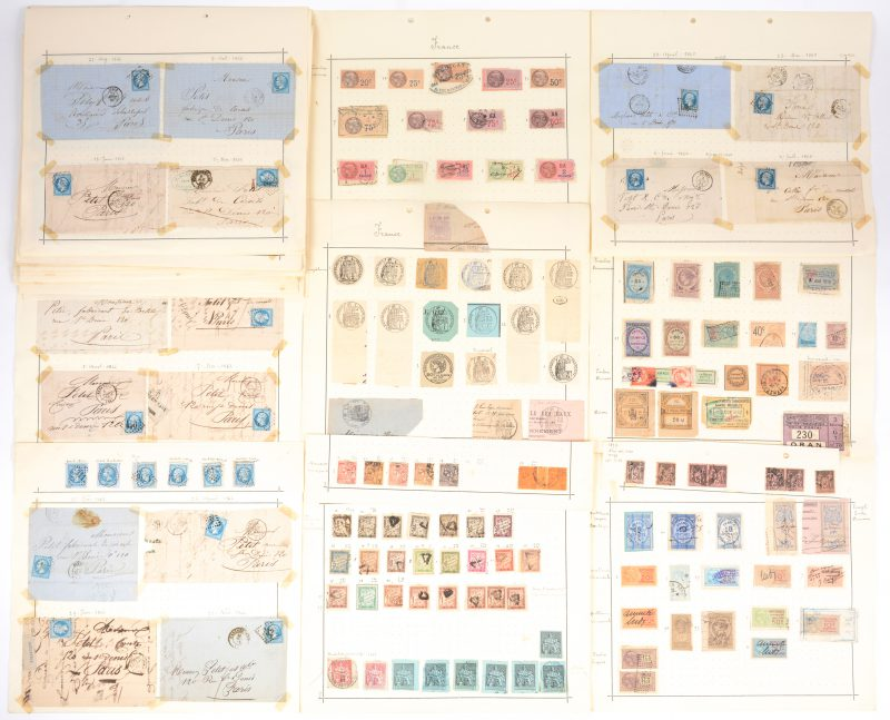 122 postzegels, fiscale zegels e.a. en 117 geadresseerde en gefrankeerde enveloppen. Frankrijk vanaf 1861.
