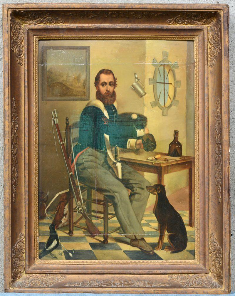 """""""Militair in een herberg met hond en ekster"""". Olieverf op paneel. Gesigneerd rechts onder. XIXe eeuw. Paneel gerestaureerd."""