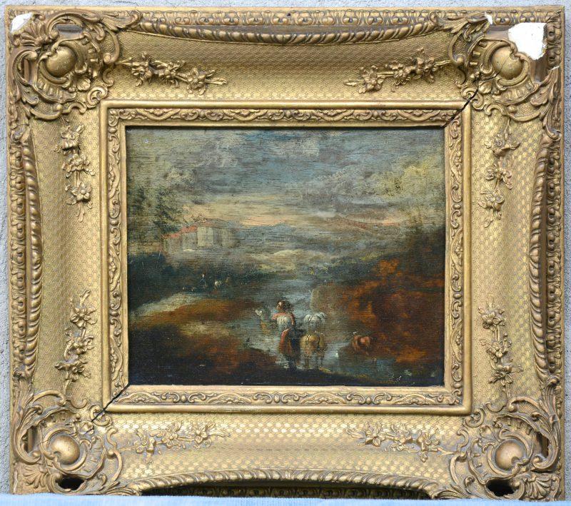 """""""Reizigers in een romantisch landschap"""". Olieverf op paneel. XIXe eeuw. Slechte staat."""