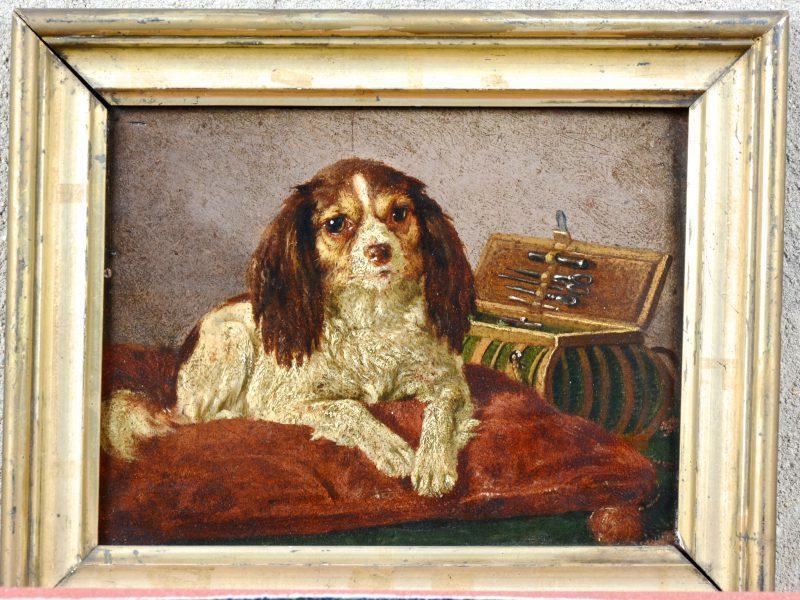 """""""Spaniël op een kussen"""". Olieverf op paneel. XIXe eeuw."""