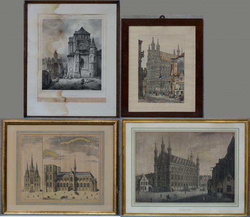 Twee XIXe en een XXe eeuwse lithografie met zichten op Leuven en een ingekleurde XVIIIe eeuwse gravure m.b.t. de Sint-Pieterskerk.