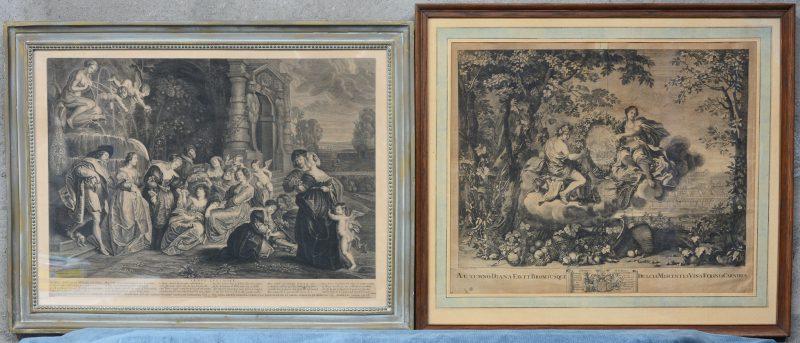 """Twee gravures van omstreeks 1700:- """"Venus Lusthoff"""". Een gravure naar een werk van Rubens. - """"Automno Diana Favet...""""."""