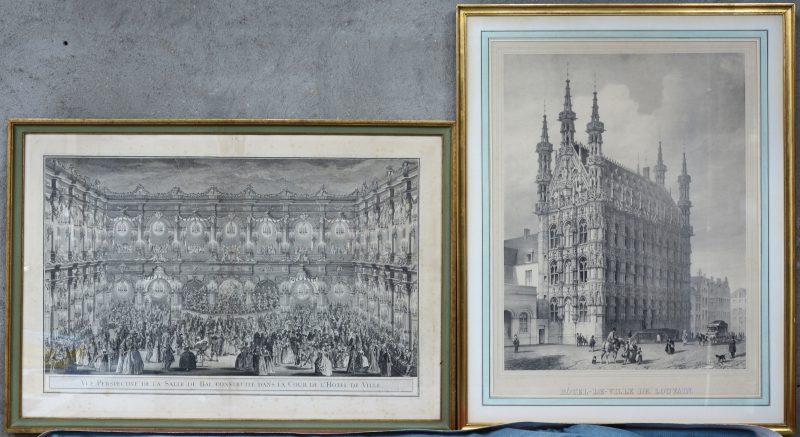 """Hötel-de-Ville de Louvain"" & ""Vue Perspective de la Salle du Bal, construite dens la cour de l'Hôtel de Ville"". Een XIXe en een XVIIIe eeuwse gravure."