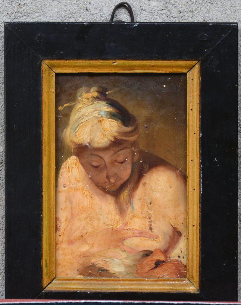 """""""Vrouw biedt haar borst aan aan een oude man"""". Olieverf op paneel. Als onderdeel van een groter werk. XIXe eeuw (?)"""