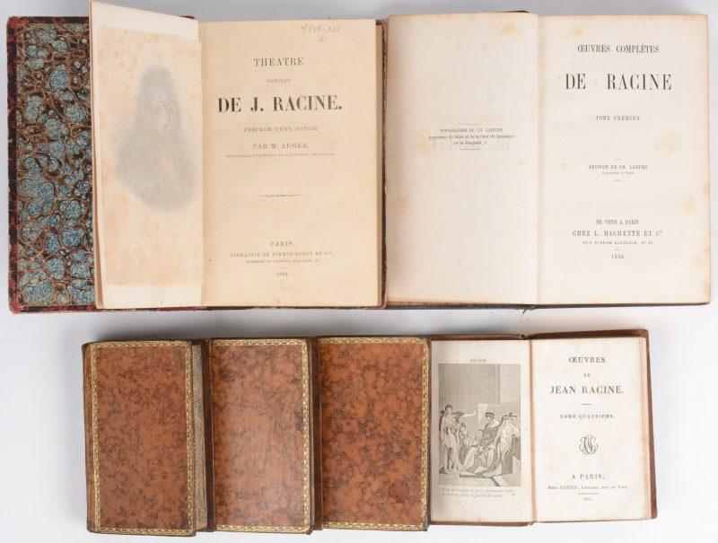 """Racine. 6 boeken. """"Oeuvres de Jean Racine"""". 4 delen. Saintin Paris, 1821. Leder, in-18. """"Oeuvres Complètes de Racine"""". Deel 1. Hachette Paris, 1856. Leder, in-12. """"Théatre complet de J. Racine"""". Firmin Didot Paris, 1882. In-12."""