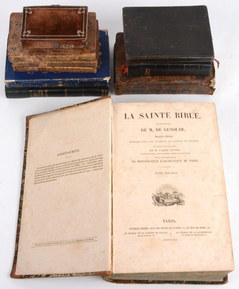 """10 boeken, religie, filosofie e.d. De Genoude. """"La Sainte Blble"""" Deel 1 (O.T.). Pourrat Paris 1834. Geïllustreerd, In-4. Enz. enz."""