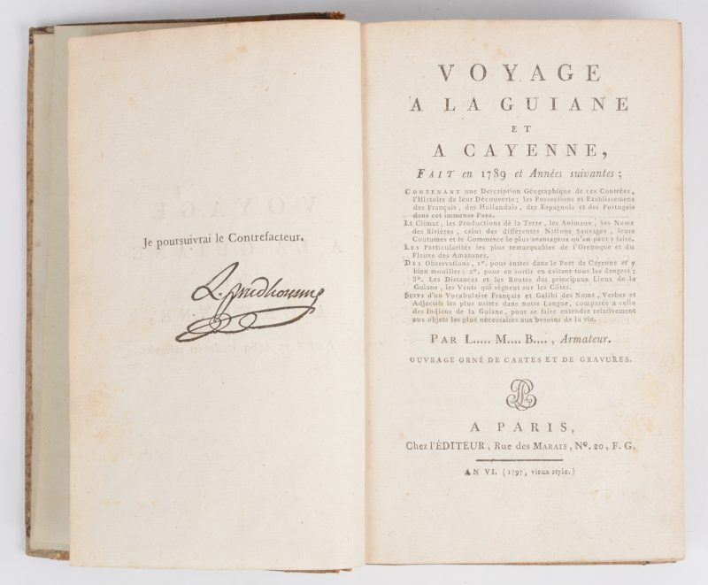 """L.M.B., Armateur (Louis-Marie Prudhomme). """"Voyage à la Guiane et à Cayenne fait en 1789 et Années suivantes"""". Paris an VI (1797 vieux style). Lederen rug, in-8. Met vouwkaart en gravures."""