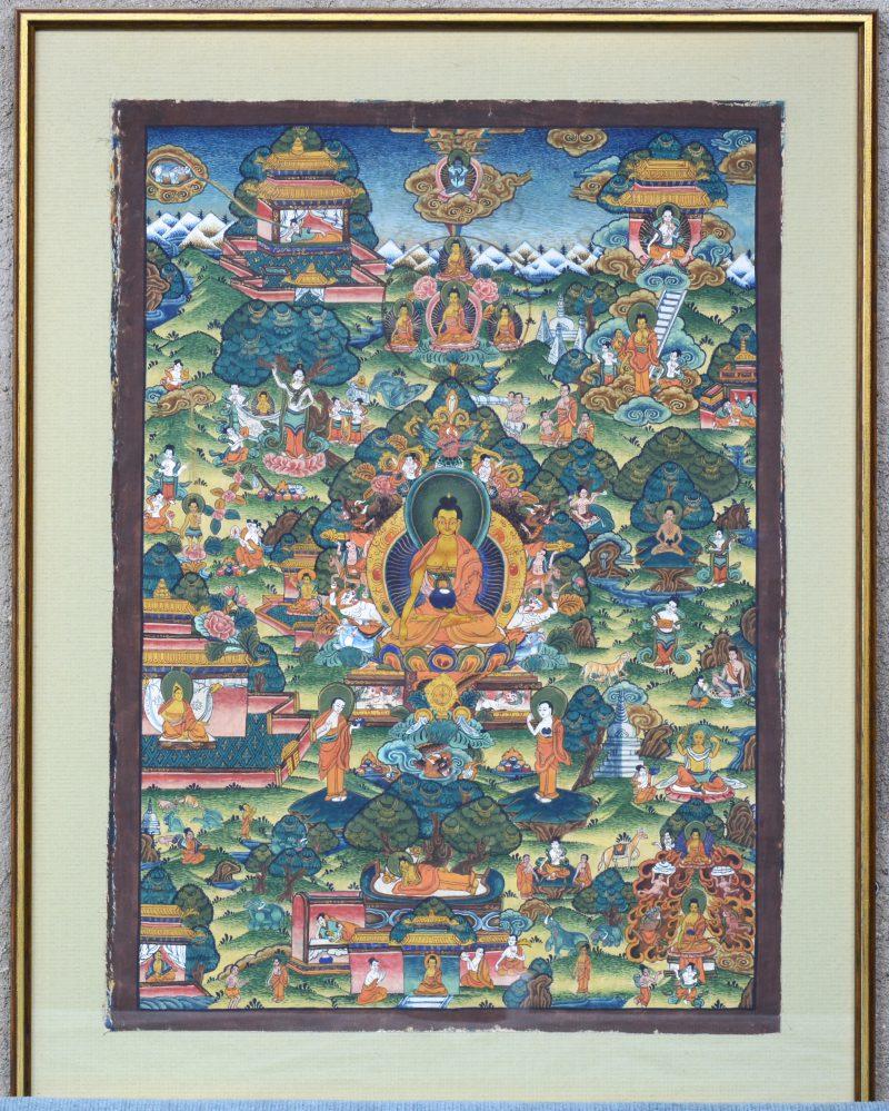 """""""Een voorstelling met de diverse gedanten van Boeddha"""". Gouache op zijde. Thais werk."""