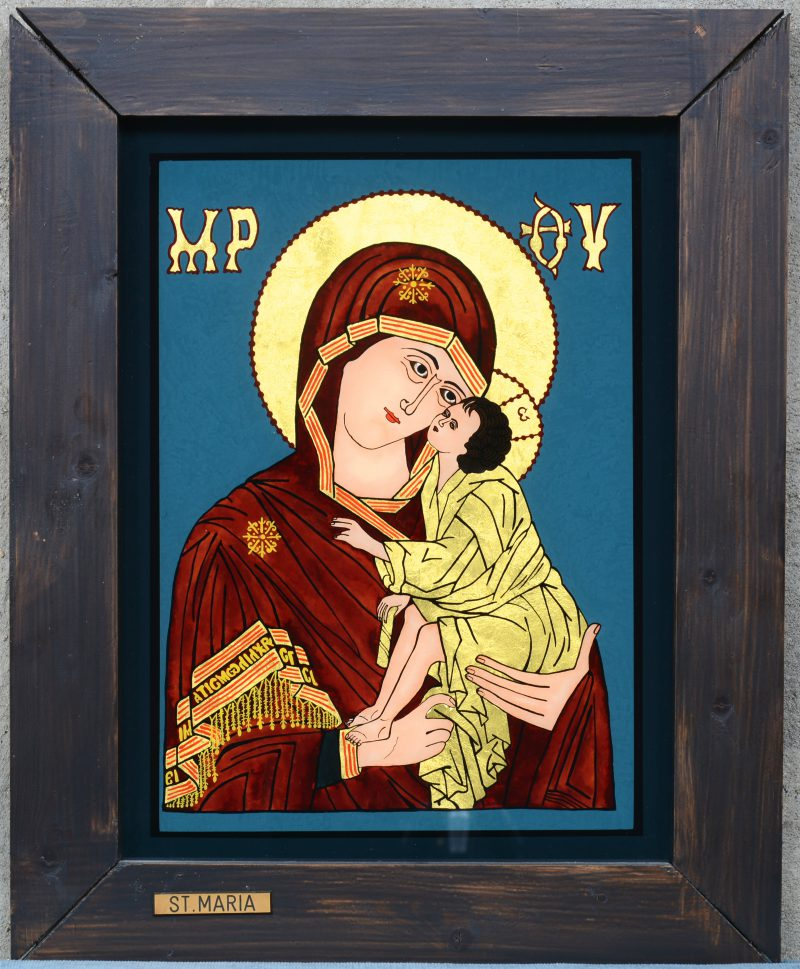 """""""Madonna met kind"""". Een achterglasschildering met bladgoud, naar voorbeeld van een Russisch icoon."""