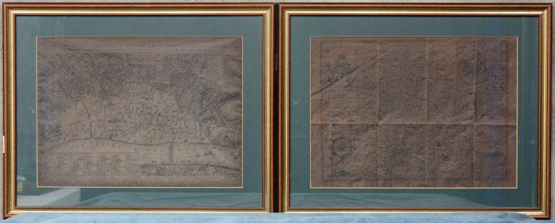 """A plan of the city and the liberties of London after the Dreadful Conflagration in the year 1666"" & ""kaart van Shropshyre"". Twee XVIIIe eeuwse Engelse kaarten. Zeer donker."