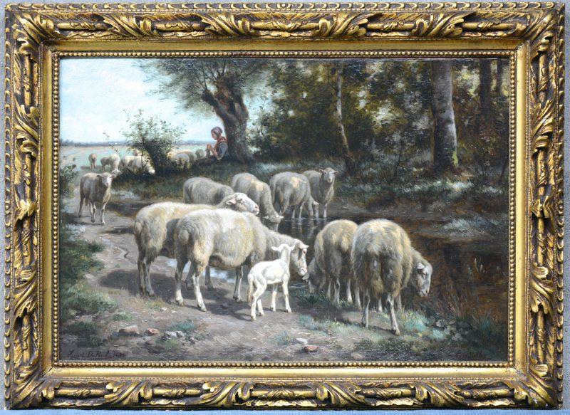 """""""Herderin met schapen"""". Olieverf op doek. Gesigneerd en gedateerd 1890."""