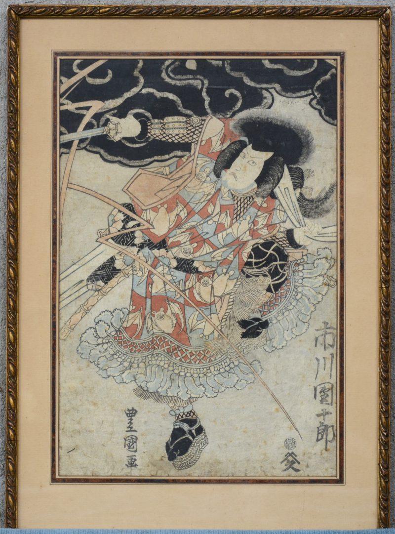 """""""Krijger"""". Een Japanse houtsnede. XIXe eeuw. Gesigneerd."""